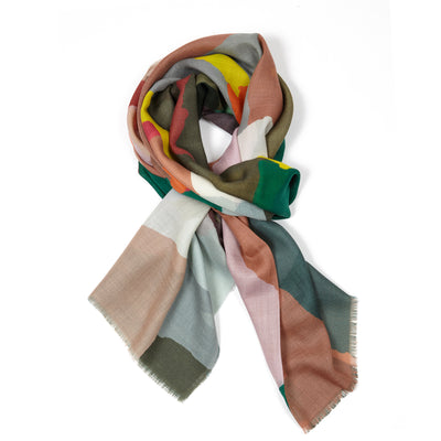 Begg & Co Wispy Cashmere Scarf in Painted Camo