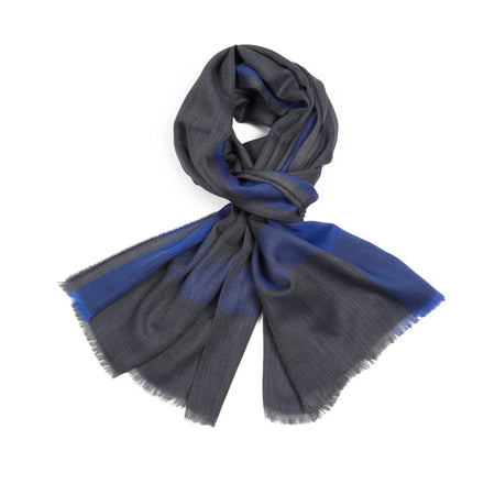 Begg & Co Whispy Carr Scarf in Royal Navy / Charcoal