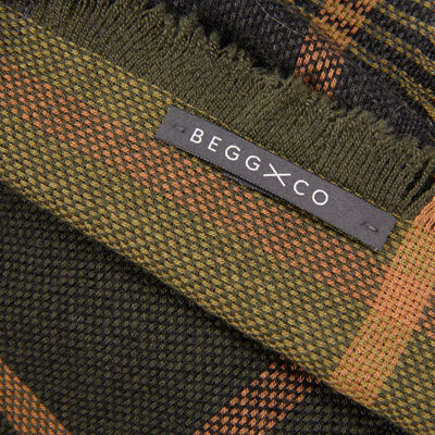 Begg & Co Kishorn Matlock Cashmere Scarf in Green/Camel