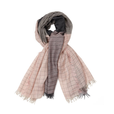 Begg & Co Staffa Plus Cashmere Silk Scarf in Charcoal Rose