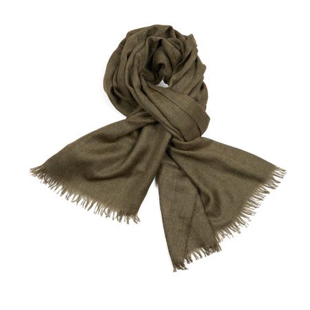 Begg & Co Staffa Cashmere and Silk Scarf in Artichoke