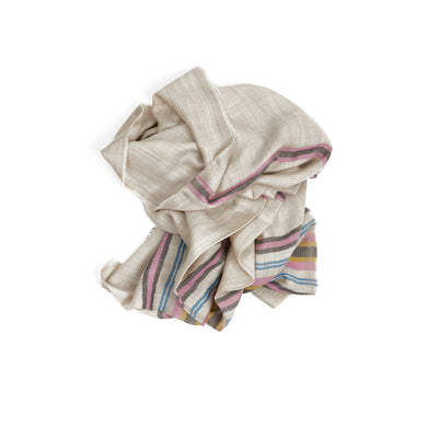 Begg & Co Wispy Baron Cashmere Scarf in Natural / Pink
