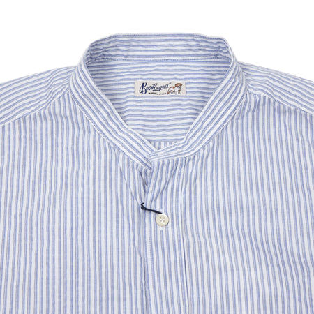 Bevilacqua Collarless Shirt in Stripe