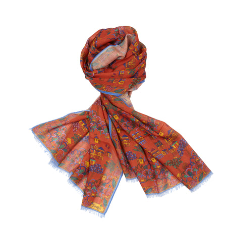 Drake's Antique Village Wool Silk Scarf in Rust