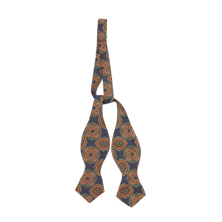 Drake's Batwing Silk Printed Bowtie in Blue/ Green