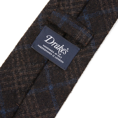 Drake's Boucle Woven Check Tie in Dark Brown
