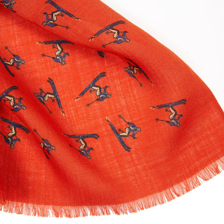 Drake's Ski Motif Print Wool Scarf in Orange