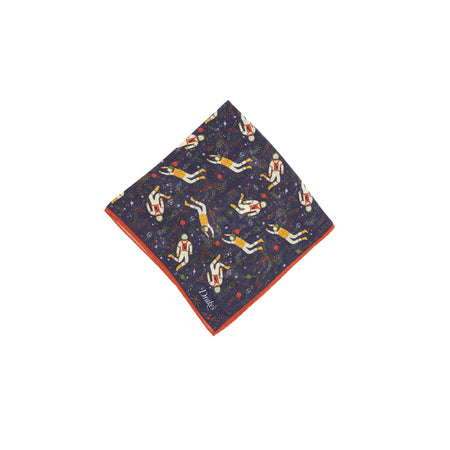 Drake's Astronaut Wool and Silk Pocket Square in Navy