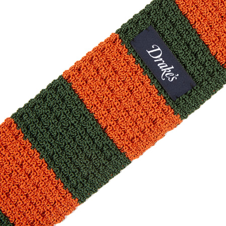 Drake's Block Stripe Knitted Silk Tie in Green / Orange