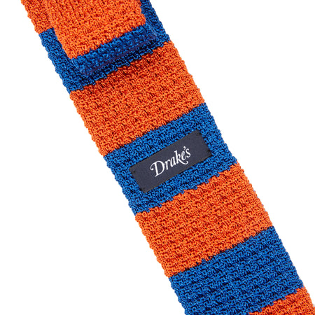 Drake's Block Stripe Knitted Silk Tie in Blue / Orange