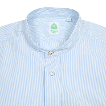Finamore Giglio Collarless Short Sleeve Seersucker Shirt