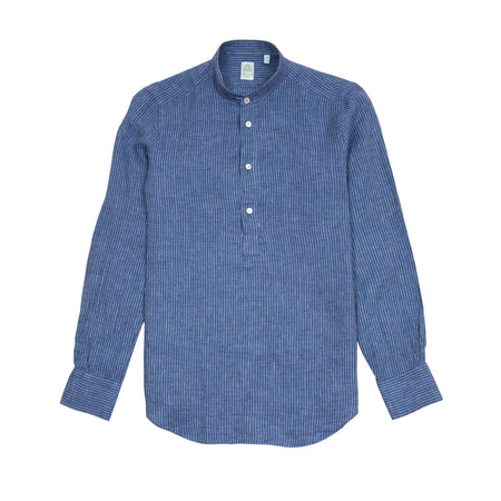 Finamore Maiorca Collarless Linen Shirt in Blue Stripe