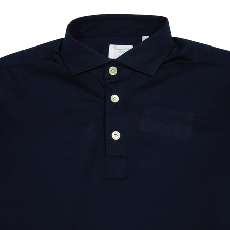 Finamore Orlando Long Sleeve Polo Shirt in Navy