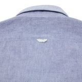 Finamore Tokyo Leonardo Chambray Button Down Cotton Shirt in Blue