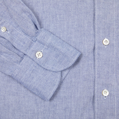 Finamore Tokyo Leonardo Chambray Button Down Shirt in Blue