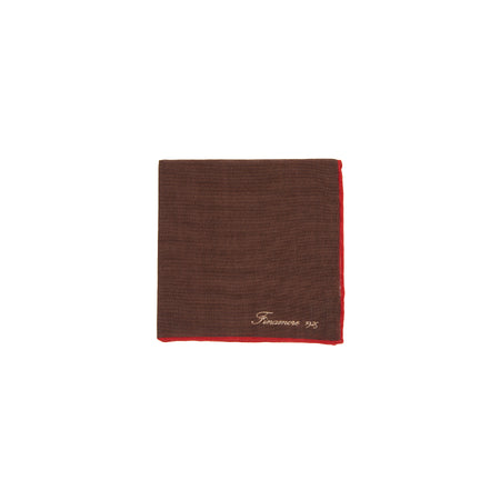 Finamore Wool Pocket Square in Brown