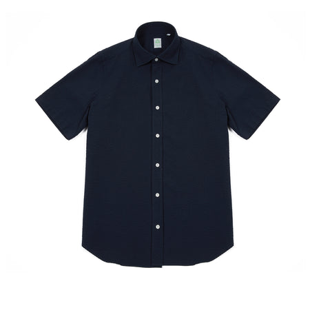 Finamore Giglio Luigi Seersucker Cotton Shirt in Navy