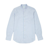 Finamore Tokyo Camillo Collarless Cotton Stripe Shirt in Light Blue