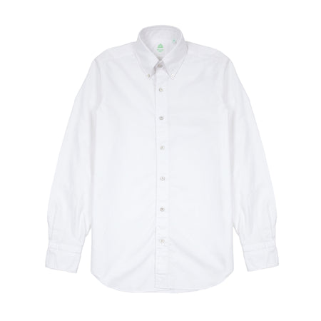 Finamore Tokyo Leonardo Oxford Button Down Cotton Shirt in White