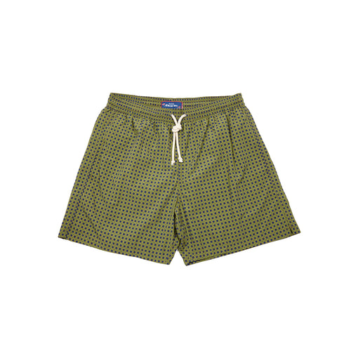 Fiorio Spot Print Swim Shorts in Olive / Blue