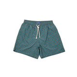 Fiorio Retro Print Swim Shorts in Petrol / Orange