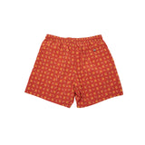 Fiorio Flower Print Swim Shorts in Dark Orange / Gold