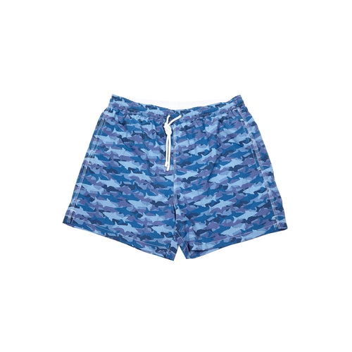 Fiorio Shark Print Swim Shorts in Blue