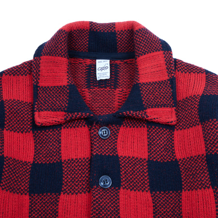 GRP Knitted Check Jacket in Red / Black