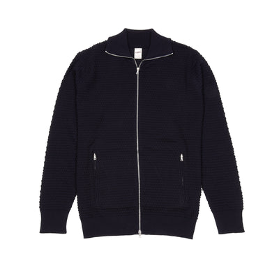 GRP Cotton Zip Knitted Jacket in Navy