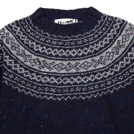 Harley Crew-Neck Pure Merino Wool Donegal Jumper in Sheridan / Greese