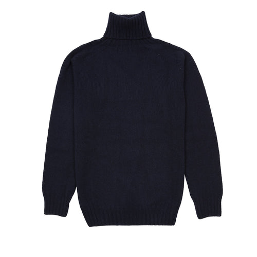 Harley Roll-Neck Geelong Lambswool Jumper in Navy