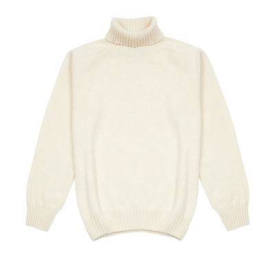 Harley Women's Roll Neck Geelong Lambswool Jumper in Chalk