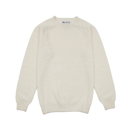 Harley Crew-neck Supersoft Shetland Jumper in Winter White
