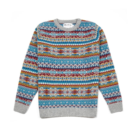 Harley Supersoft Shetland Fair Isle Jumper in Silver