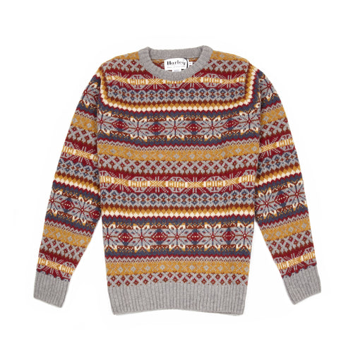 Harley Supersoft Shetland Fair Isle Jumper in Chrome