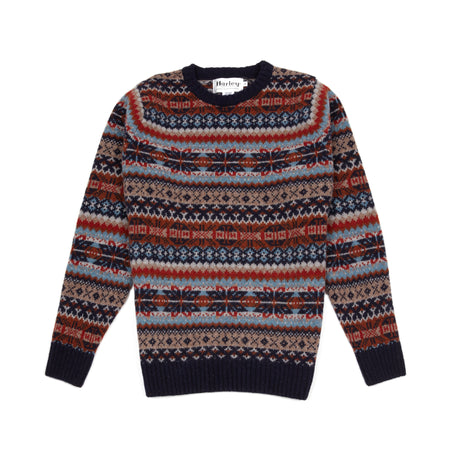 Harley Supersoft Shetland Fair Isle Jumper in Navy