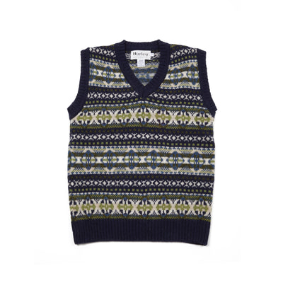 Harley Supersoft Shetland Fair Isle Slipover in Navy