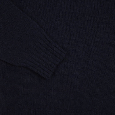 Harley Crew-Neck Geelong Lambswool Jumper in Nero Navy