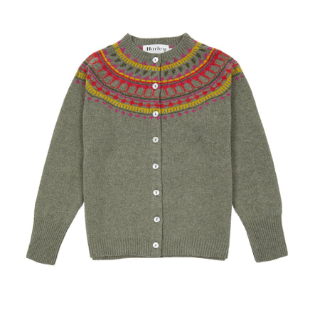 Harley Women's Fair Isle Yoke Geelong Cardigan in Moss