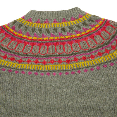 Harley Women's Fair Isle Yoke Geelong Jumper in Moss