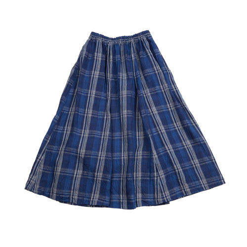 Ichi Antiquities Indigo Linen Check Skirt in Navy