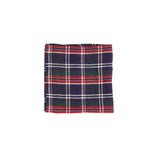 Ichi Antiquities Linen Tartan Hankie in Navy