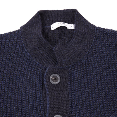 Inis Meáin Nehru Baby Alpaca and Silk Jacket in Navy