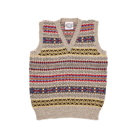Jamieson's V-neck Fair Isle Slipover in Natural