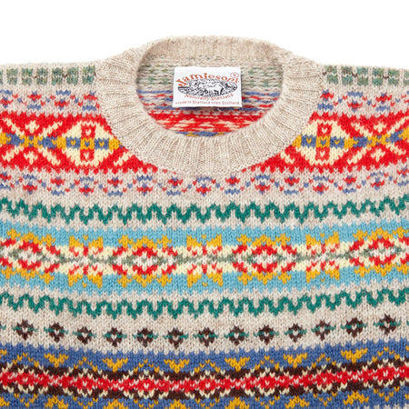 Jamieson's Crew-neck Fair Isle Jumper in Ecru