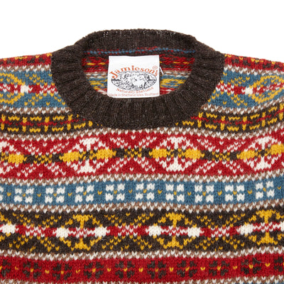 Jamieson's Crew-neck Fair Isle Jumper in Natural Black