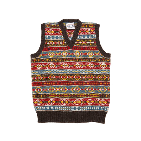 Jamieson's V-neck Fair Isle Slipover in Natural Black