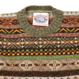 Jamieson's Crew-neck Fair Isle Jumper in Moss Green
