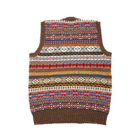 Jamieson's 748A/12 Fair Isle V-neck Slipover in Marron