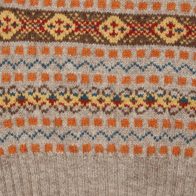 Jamieson's V-neck Fair Isle Slipover in Orange